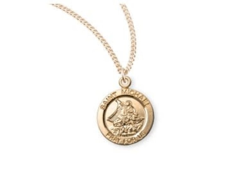 HMH Religious Mfg 16K Gold over silver Small Round St. Michael Necklace