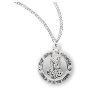 HMH Religious Mfg Sterling Silver tiny round St. Michael necklace