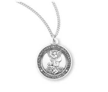 HMH Religious Mfg Sterling Silver Round St. Michael Necklace