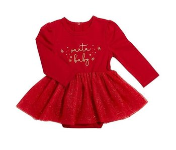 Creative Brands Santa Baby red snap shirt dress -size 6-12 months