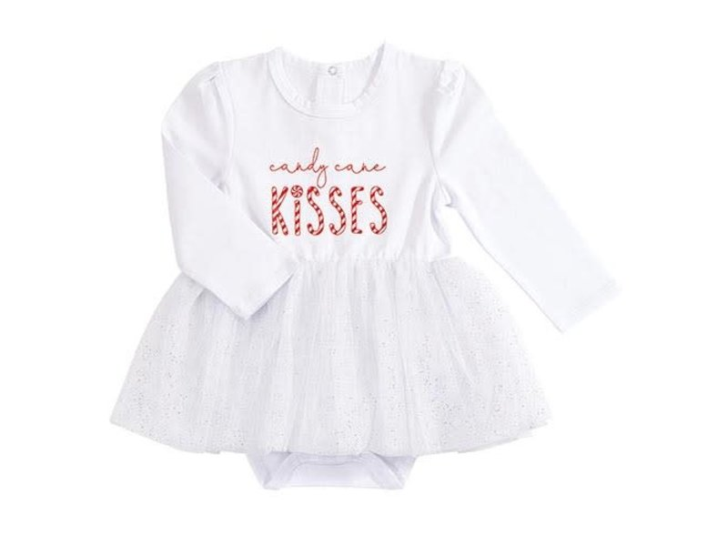 Creative Brands Candy Cane Kisses white snap shirt dress -size 6-12 months