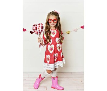 Oopsie Daisy Red floral heart print long sleeve dress with lace detail- size 3