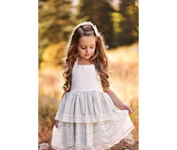 Oopsie Daisy White & Gray Dainty Dress