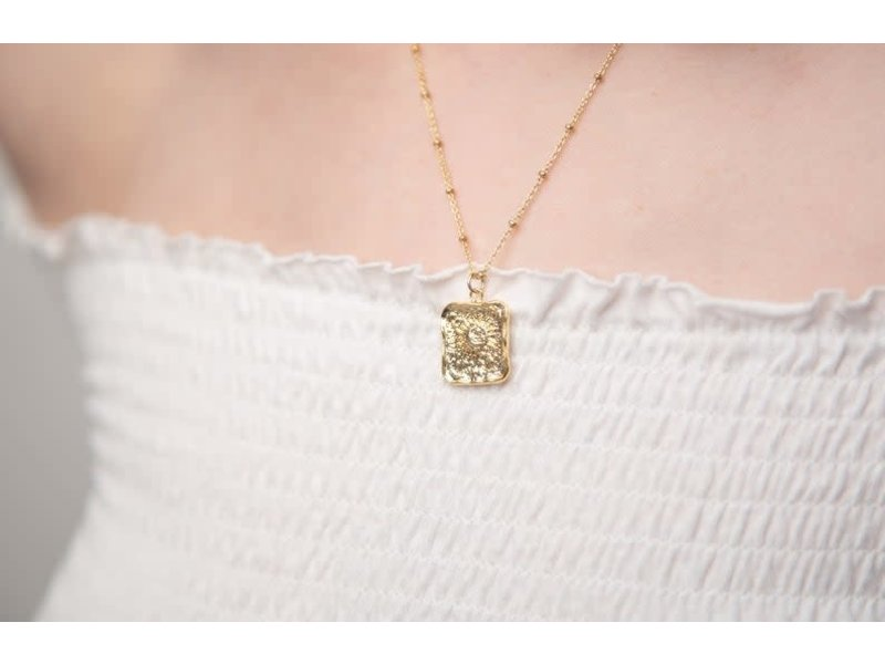 Emery & Opal Square Sun Necklace with beaded chain