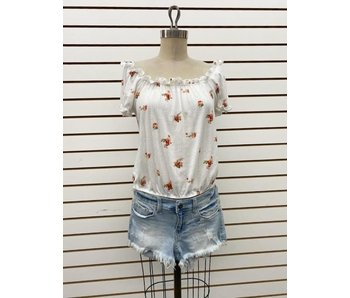 1 Funky Ivory/flowers off shoulders print top