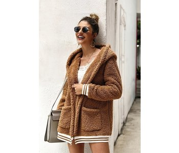 Licosa Sandy Brown soft faux fur coat