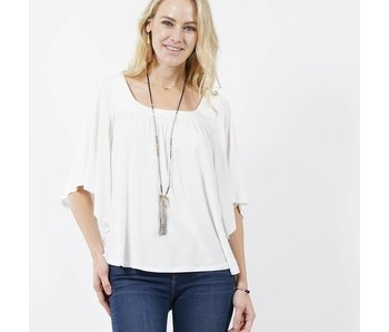 42pops Square neck dolman sleeve top -Ivory