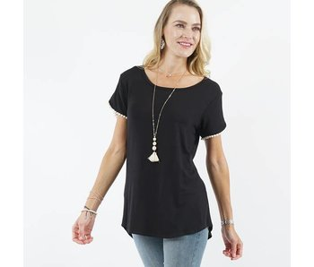 42pops Pompom Detail Tulip Sleeve Black Top
