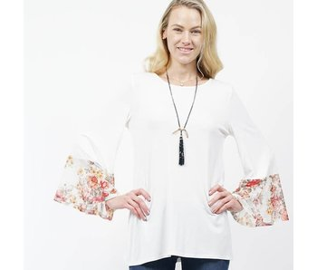 42pops Floral print bell sleeve tunic top