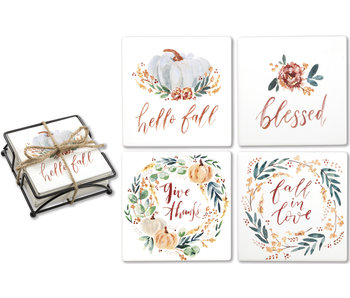 Primitives by Kathy Ceramic Coaster Set -Fall Blessings