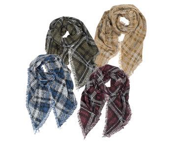 Arianna Plaid Knit Blanket Scarf -Green