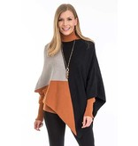 Arianna Camel color blocked zip poncho -OS fits most