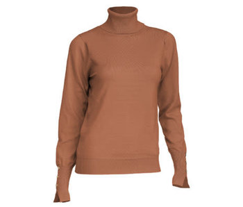 Arianna Camel long sleeve button accent turtle neck sweater