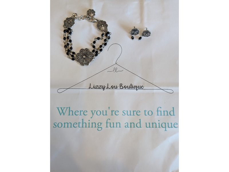 Genuine Brighton silver scroll filigree flowers w/black beads multi strand bracelet & earrings set