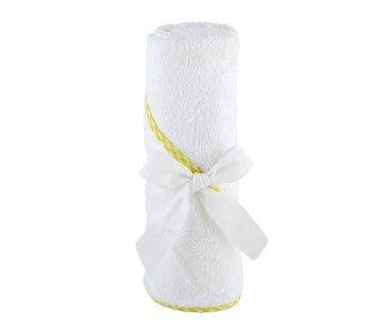 Santa Barbara Hooded baby bath towel with yellow trim