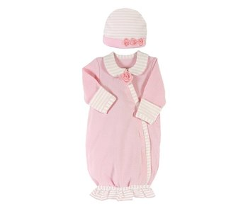 Santa Barbara Preemie Gown with matching hat -Light Pink Striped