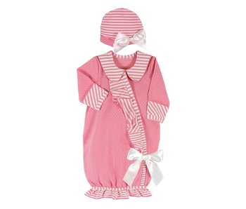 Santa Barbara NB Gown with matching hat -Dark Pink Striped