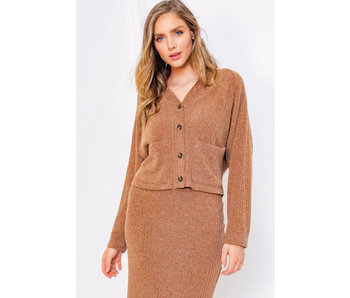 Gilli Long sleeve rib cardigan with pockets