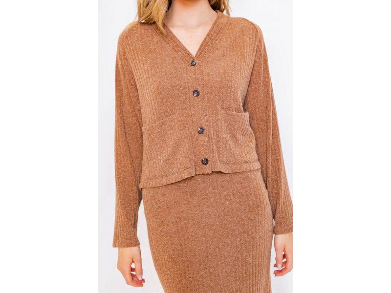 Gilli Long sleeve rib cardigan with pockets