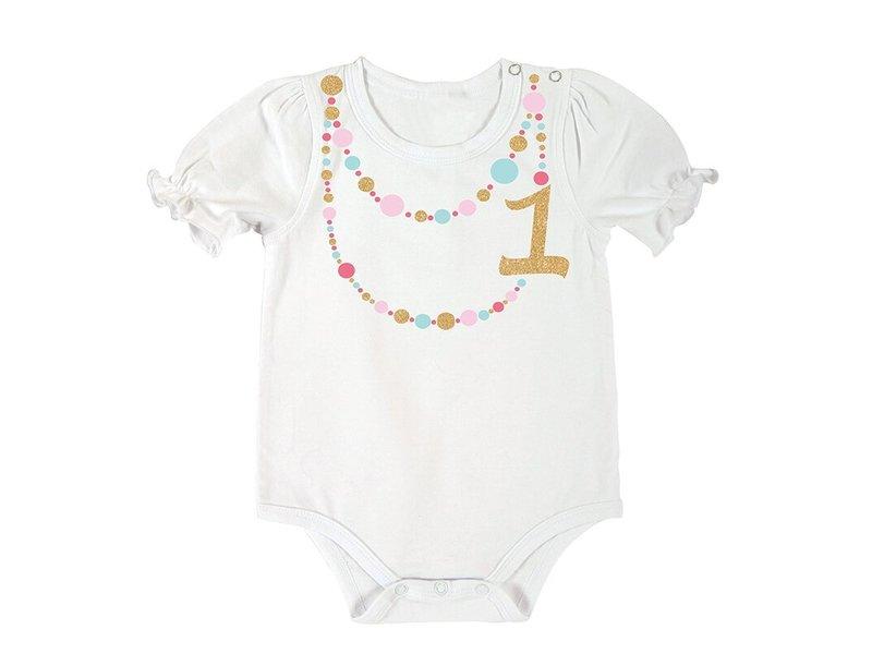Santa Barbara 1st birthday snap shirt -color necklace