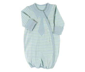 Santa Barbara Baby boy gown light blue and green striped