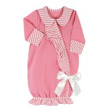 Santa Barbara Newborn Baby Girl Gown -dark pink striped