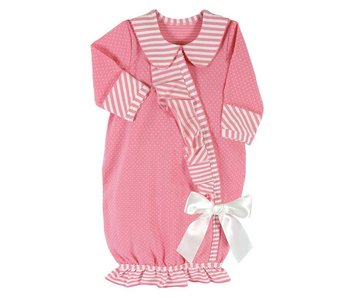 Santa Barbara Newborn Baby Girl Gown -dark pink striped