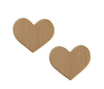 Santa Barbara Heart  2 pack wood hooks