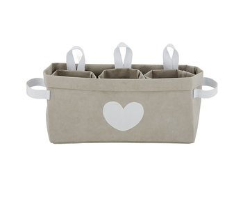Santa Barbara Gray heart washable large storage tote with 3 mini totes