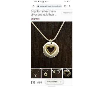 Brighton two toned silver & gold heart necklace