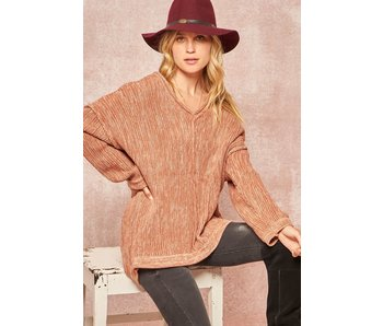 Promesa USA Blush two toned v-neck  knit sweater