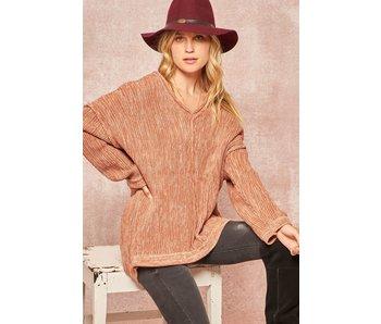 Promesa USA Blush two toned v-neck  knit sweater