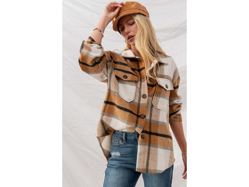 Urban Daizy CHECKERED OVERSIZED BUTTON DOWN JACKET