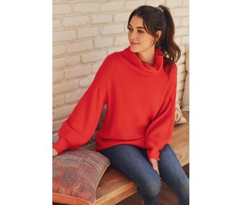 Jodifl Solid knit turtleneck sweater with long bubble sleeves