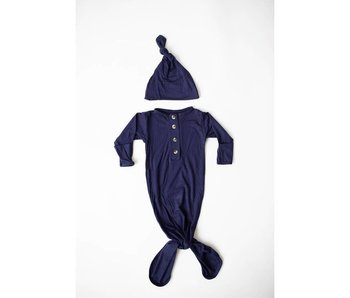 Stroller Society Navy Blue Knotted baby gown &  hat set  -size 0-3 months