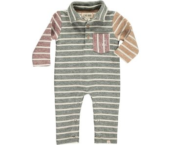 Me & Henry Multi stripe polo romper