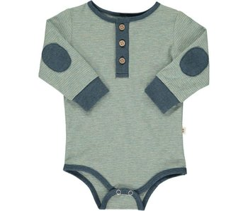 Me & Henry Sage Green striped Henley onesie