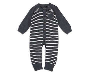 Viverano Organics Sweater knit stripe coverall romper