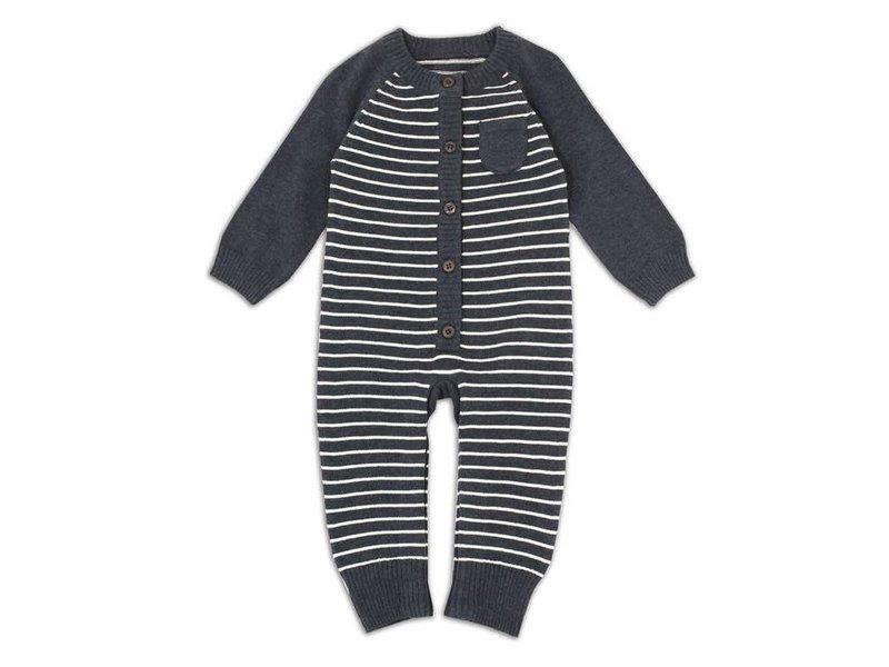 Viverano Organics Sweater knit stripe coverall romper