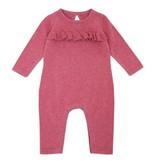 Viverano Organics Heather Sweater Knit Ruffle Coverall Romper -size  12-18 months