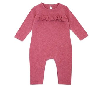 Viverano Organics Heather Sweater Knit Ruffle Coverall Romper -size  12-18 months