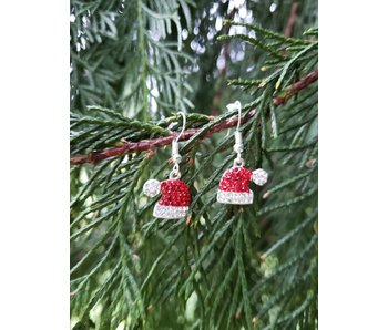Pretty Simple Santa hat bling earrings
