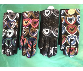 Mademoiselle E touch glove with hearts yarn