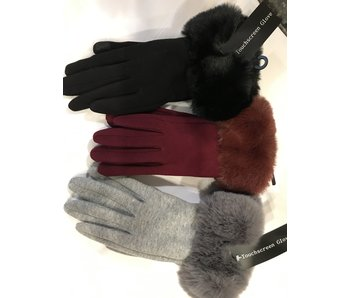 Mademoiselle E Touch Jersey Glove with Faux Fur Cuff