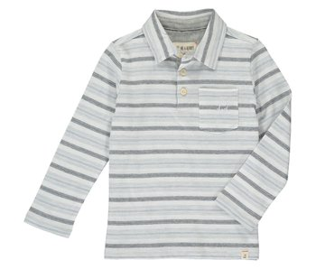 Me & Henry Grey multi stripe polo shirt