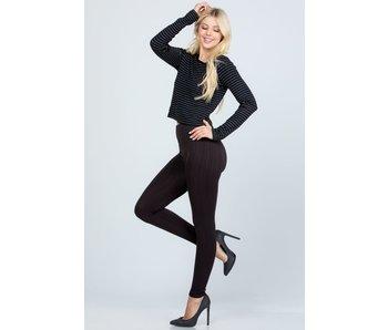 La Scala Textured high-waist full length leggings with ribbed waist