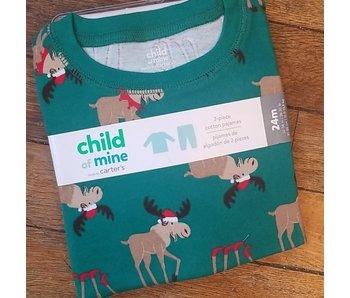 Carter's Two Piece Reindeer green pajamas