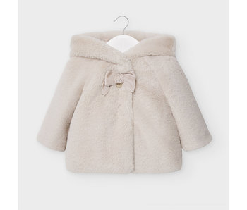 Mayoral Cream Fur coat baby girl -Size 6 M