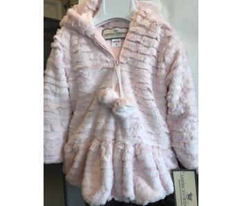 American Widgeon Girl's Heart Faux Fur Hooded Coat w/Pom Poms -size 2