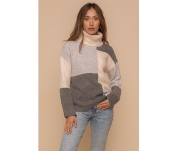 Hem and Thread Hem and Thread Mono tone color block turtle neck